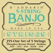D'Addario J 55 - struny na 5 strunné banjo