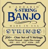 D'Addario J 60+ - struny na 5 strunné banjo